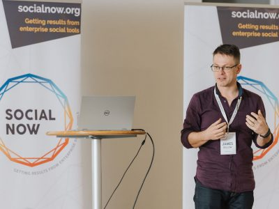 James Dellow presenting at Social Now 2018
