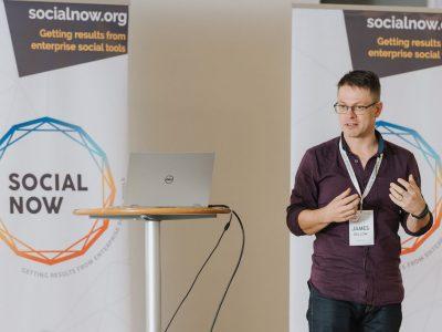James Dellow presenting at Social Now 2018