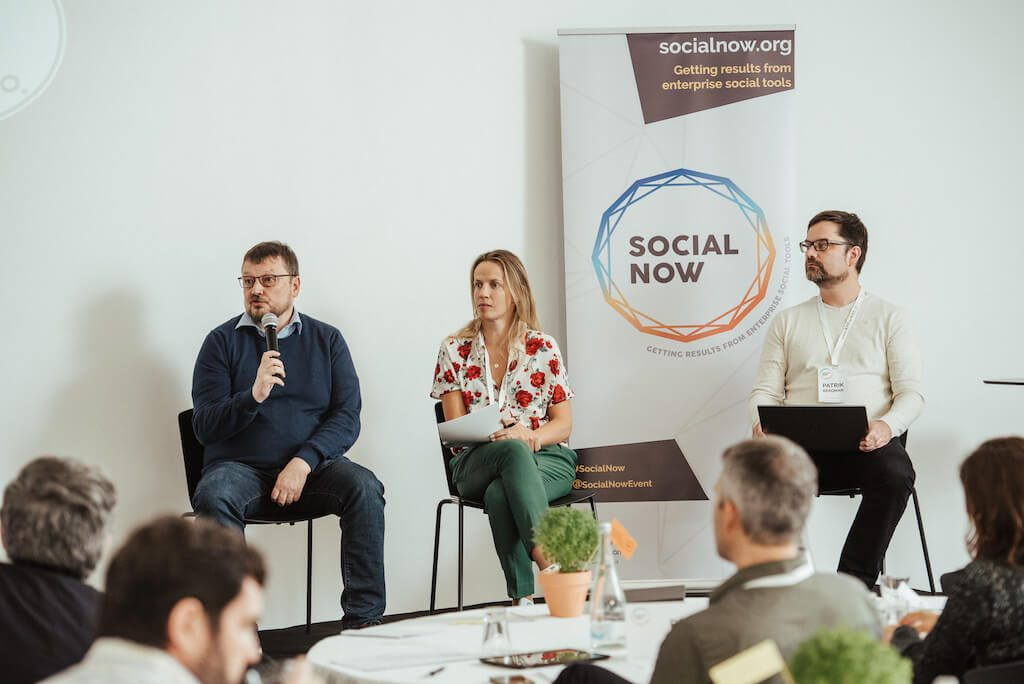 Hans-Juergen Sturm, Joana Pais and Patrik Bergman during the peer assist at Social Now 2019