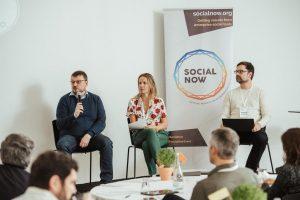 Hans-Juergen Sturm, Joana Pais and Patrik Bergman during the peer assist at Social Now 2019