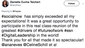 Social Now 2019 - A tweet by Daniella Cinha Teichert saying it exceeded expectations