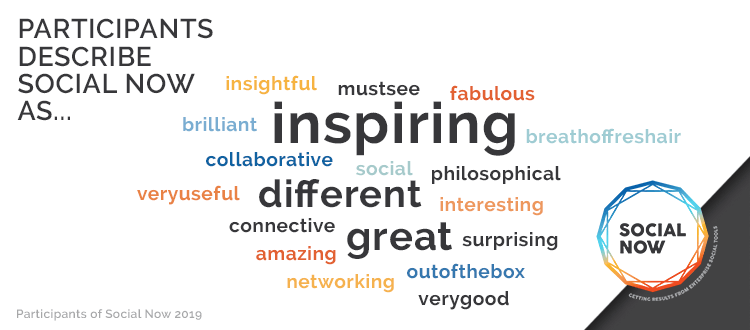 Cloud with words people used to describe Social Now 2019